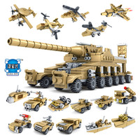 16in1 Building Blocks Set Military Field Soldier Toy Vehicle Super KAZI Tank Army Toys For Children