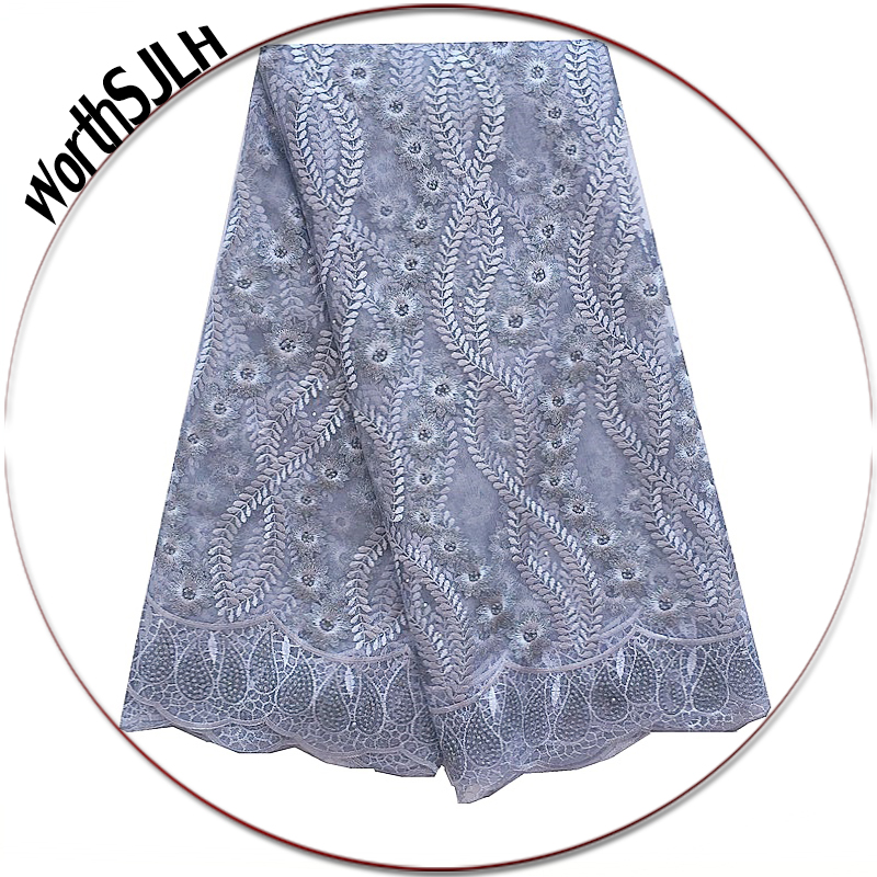 Women African Laces Material Gray Nigerian Latest High Quality Tulle Lace Fabric 2018 Purple French In switzerland