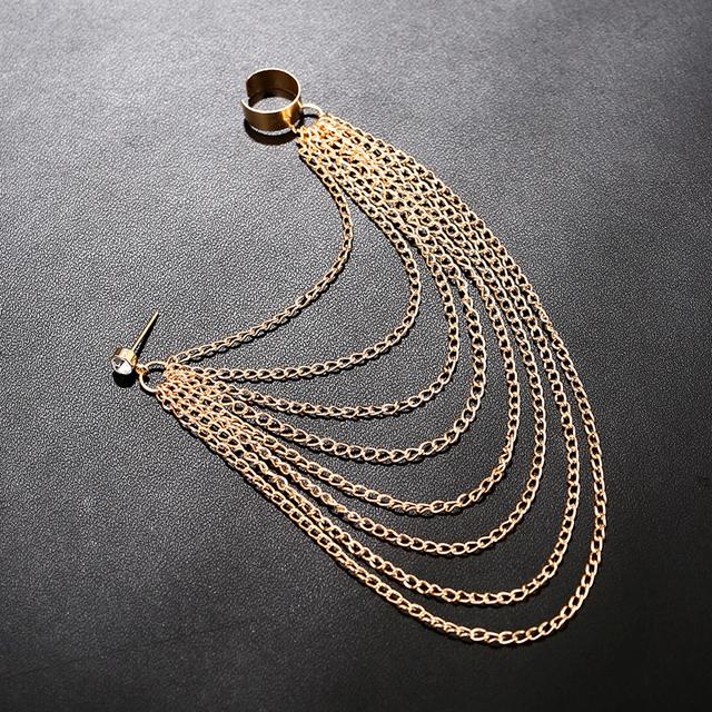 Women's Cuff Earring with Multilayer Long Tassel