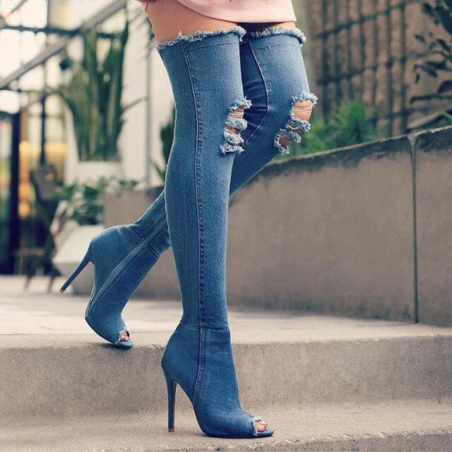 Jeans Zip De Rodilla Botas Mujer Altos Peep Sólido Stiletto Tacones Sexy Zapatos Señoras Toe Encima Mezclilla Por La XOkZiuP