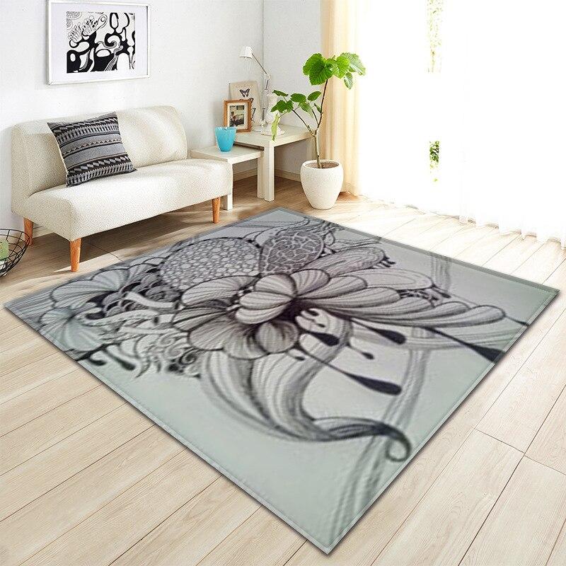Simple noir et blanc lignes Illustration géométrique élément feuilles tapis pour salon moderne tapis enfants tapis anti-dérapant