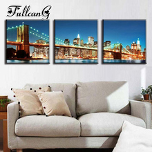 FULLCANG diy 5d diamond painting night city & bridgetriptych mosaic cross stitch full drill embroidery handmade 3pcs G1197