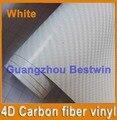 Free shipping best quality car sticker 1.52m*30m white 4D Carbon fiber vinyl with Air bubble free/air drain BW-9009
