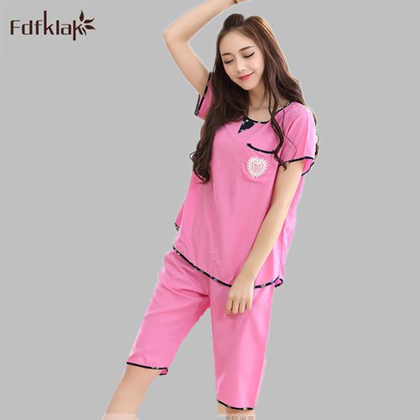 Pijamas de las mujeres Del Verano más el tamaño de Las Señoras Pijamas Mujer pijamas De Mujeres Pijamas ropa de Noche Fija de Manga Corta Chándal E0059