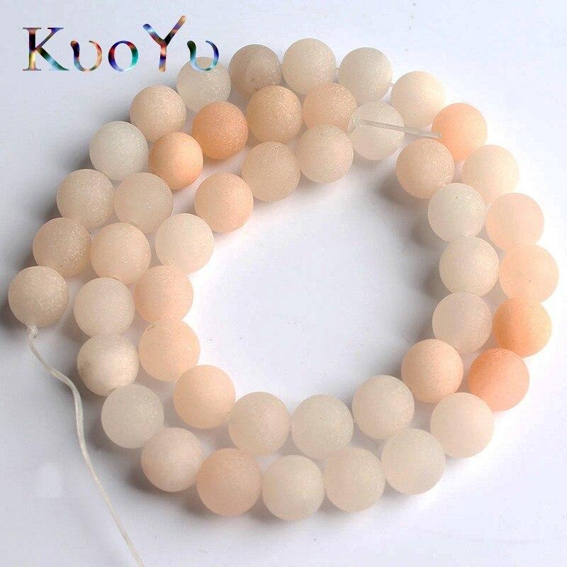 Natural Matte Light Pink Aventurine Stone Beads Round Dull Polish Loose Bead For Jewelry Making DIY Bracelet 15