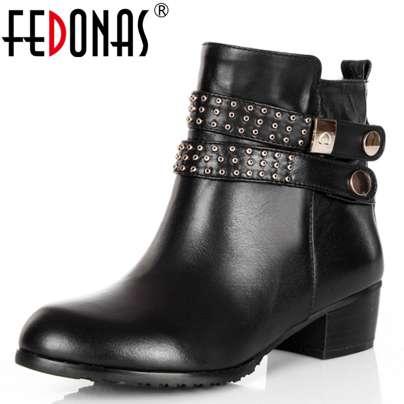 FEDONAS Buckle Strap Ankle Boots Autumn Winter Boots Genuine Leather Shoes Woman Sexy High Heel Martin Motorcycle Boots Women whitesun plus size boots women martin boots autumn winter shoes female ankle boots buckle retro style chunky heel short boots
