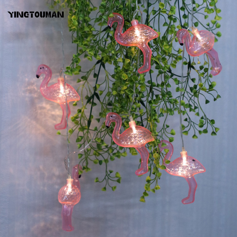 YINGTOUMANT Pink Flamingo Warm White USB Lamp LED String Light Christmas Holiday Wedding Party Decoration Lighting 8m 40LED mipow btl300 creative led light bluetooth aromatherapy flameless candle voice control lamp holiday party decoration gift