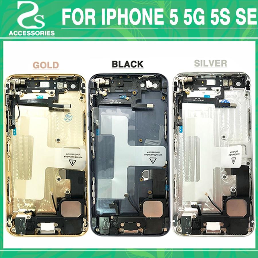Nuevo 5g 5S cubierta de la batería para el IPhone 5 5g 5S SE puerta de la batería medio marco chasis del bisel de vuelta + Flex Cable + IMEI