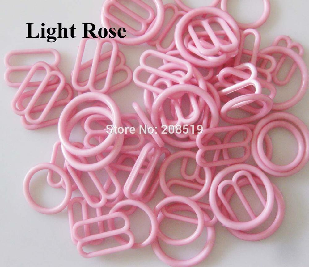 NBNLAE 100 шт. пряжки для бюстгальтера(50 шт. уплотнительное кольцо+ 50 шт. 8 слайдеров) красочные пластиковые пряжки нижнее бельё с пуговицами аксессуары - Цвет: light rose as show