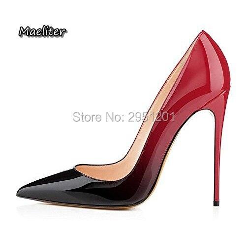 1567d643d Marca quente Sapatos de Salto Alto Mulher Casamento Sapatos Preto/Vermelho  Couro de Patente Mulheres