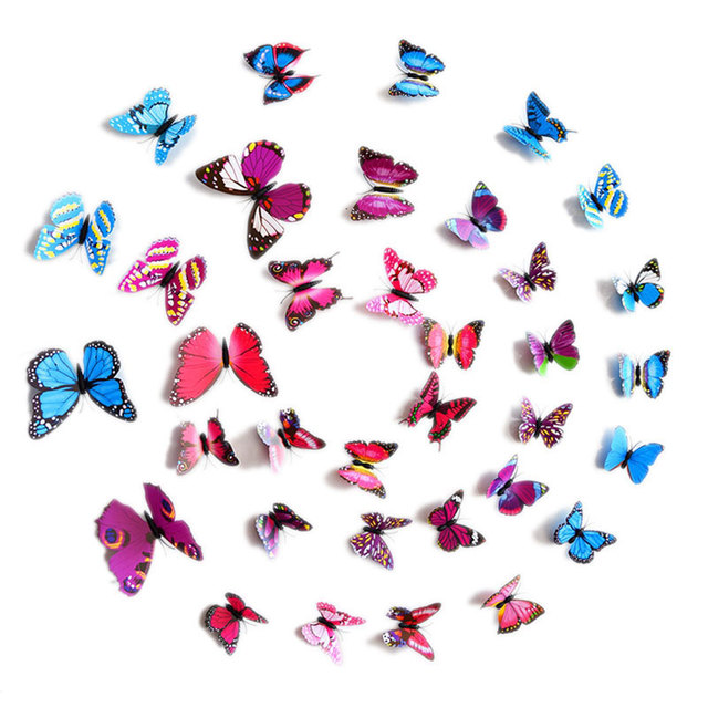 Urijk 12PCs/lot PVC Butterfly 3D Wall Stickers Wall Decals For Kids Room Wall Sticker Flower For Kitchen Colorful Home Decor