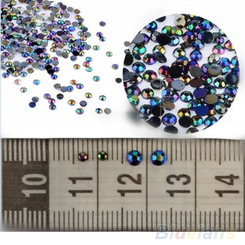 Hot Sale 300pcs 3D Nail Art Tips gems Crystal Glitter Rhinestone DIY Decoration + Wheel  1D9G