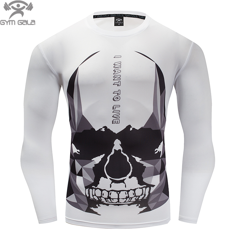 Hot 3D Printing Men Long Sleeve T Shirt G yms Compression Tights Tops Fitness T-shirt