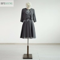 Grey Chiffon A Line Knee Length Mother Of The Dress With A Jacket Real Original Photos