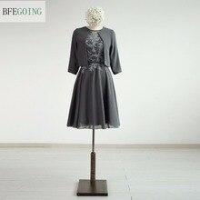 Grey Chiffon A-line Knee-Length Mother of the dress with a Jacket  Real/Original Photos Custom made