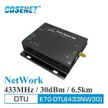 RS232 RS485 Star เครือข่าย 433MHz 30dBm 1W Long Range ไร้สาย E70 DTU 433NW30 IoT PLC ข้อมูล RF โมดูล