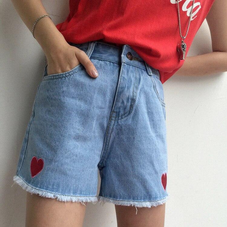 Aliexpress.com : Buy Cute Girls Harajuku Red Hearts Embroidery ...