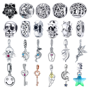fit Europe Bracelet Silver 925 Original Smile Face Dolphin Key Starfish Boy Charms Flower Tree Wng Beads for Jewelry Making