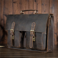 YISHEN Male Men S Vintage Real Crazy Horse Leather Briefcase Messenger Shoulder Portfolio Laptop Bag Case