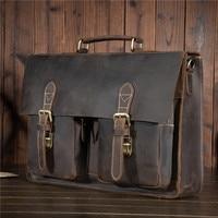 YISHEN Male Men S Vintage Real Crazy Horse Leather Briefcase Messenger Shoulder Portfolio Laptop Bag Case