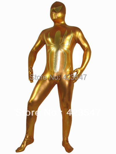 Golden Shiny Metallic Costume Adult Halloween Spiderman Superhero Zentai Suit free shipping Knitted Cosplay