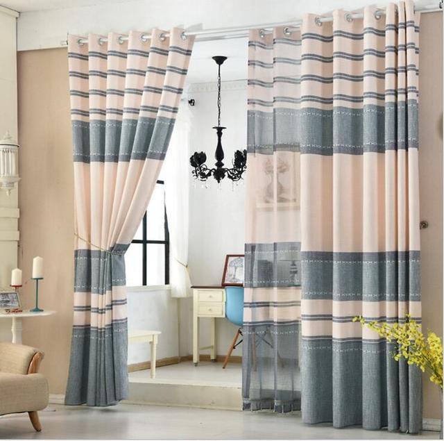 Tulle atau pemadaman tirai pintu dapur tirai jendela untuk ruang tamu penuh warna panel biru bergaris warna jendela perawatan