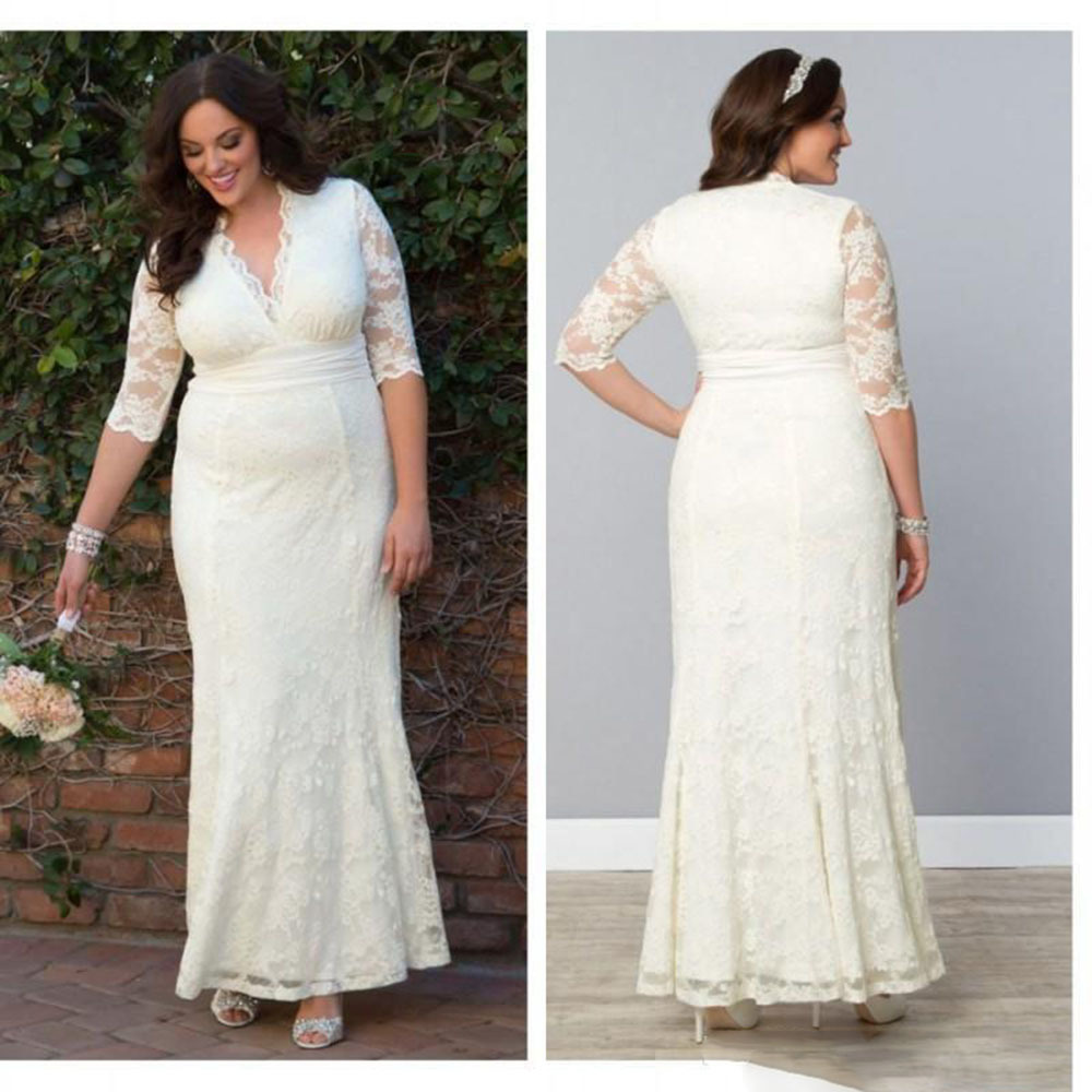 2016 summer style plus size women fitted long wedding for Long sleeve plus size wedding dress