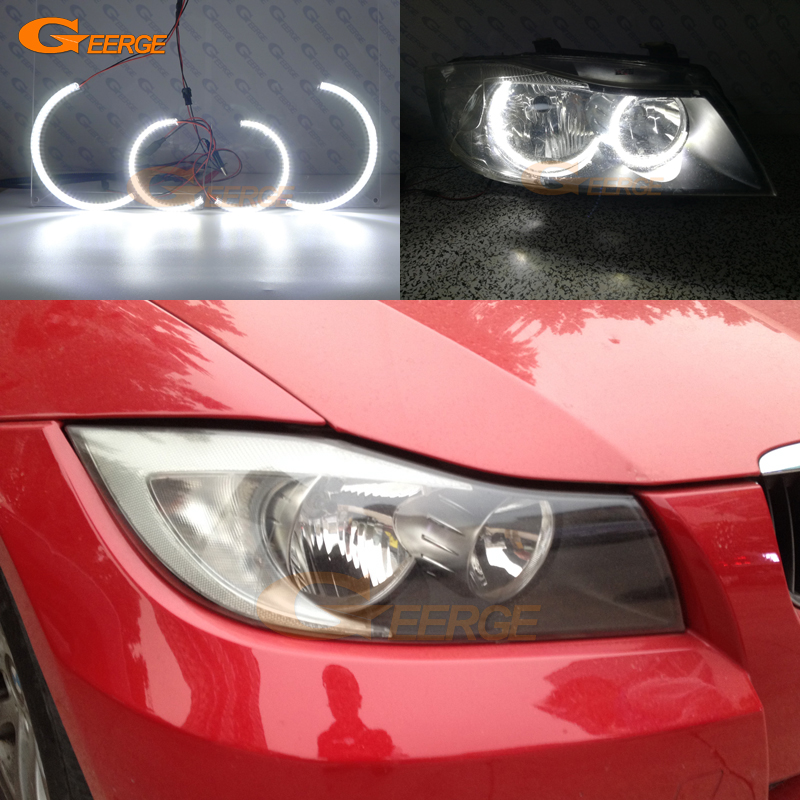 For BMW 3 Series E90 E91 330i 325i 335i 2005-2008 Halogen headlight Excellent Ultra bright illumination smd led Angel Eyes kit спойлер bmw e90 318i 320i 325i 330i m3