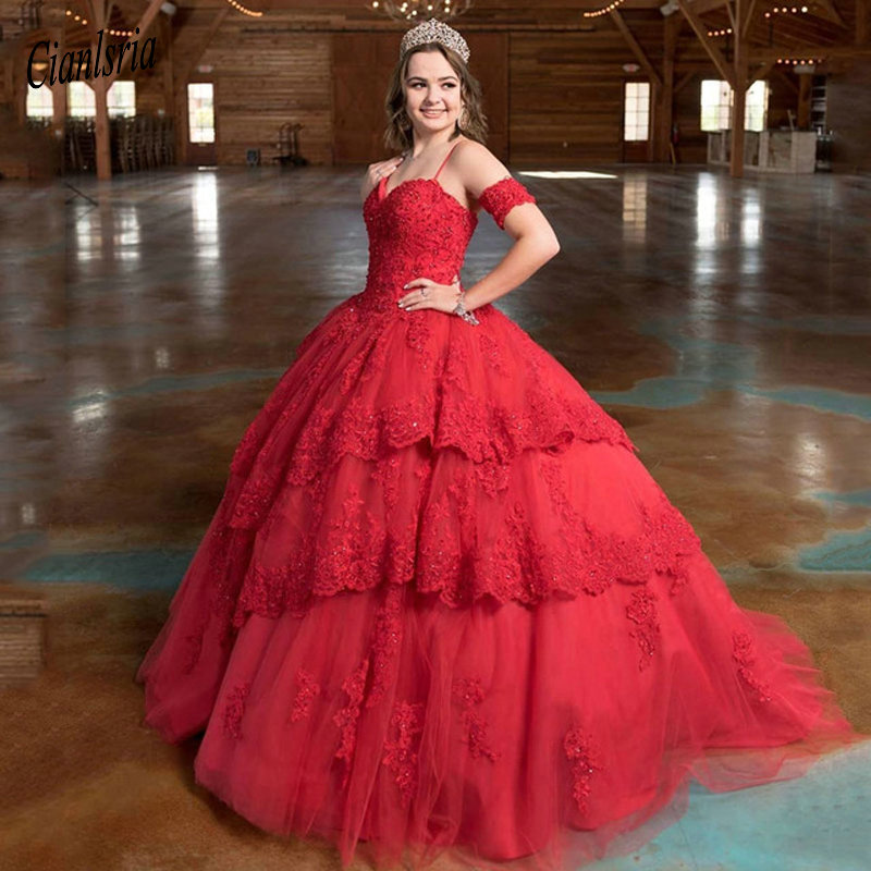 Elegant Red Ball Gown Long Quinceanera Dresses 2020 Sweetheart Spaghetti Tiered Lace Applique Sweet 16 Dresses