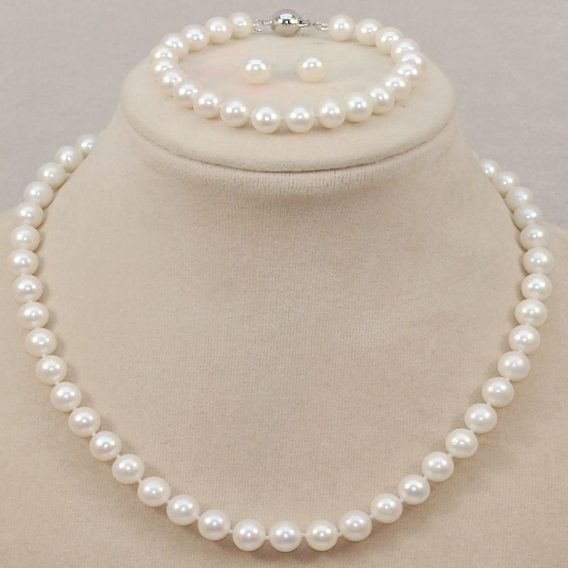 Necklace Wedding-Sets Pearl Silver-Jewelry Freshwater Black Women's Pink White AA 8-9mm