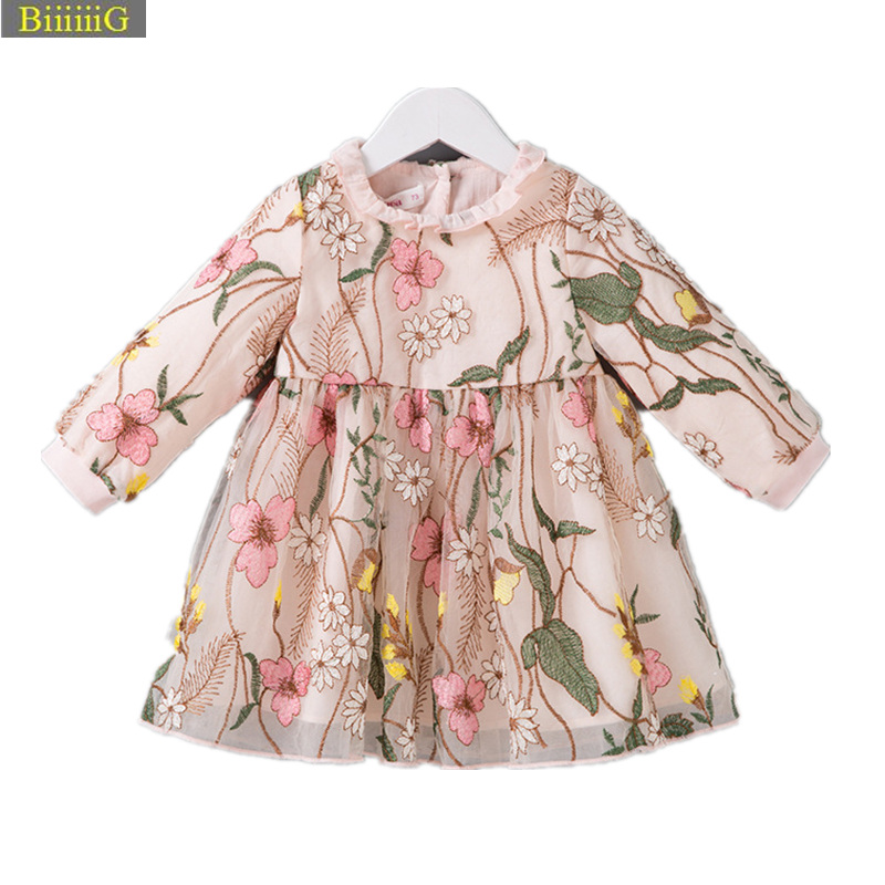 Embroidered Floral Baby Girl Dress 2018 Autumn Brand Cotton Newborn Clothes Infant Garments High Quality Party Lace Drsses 18M