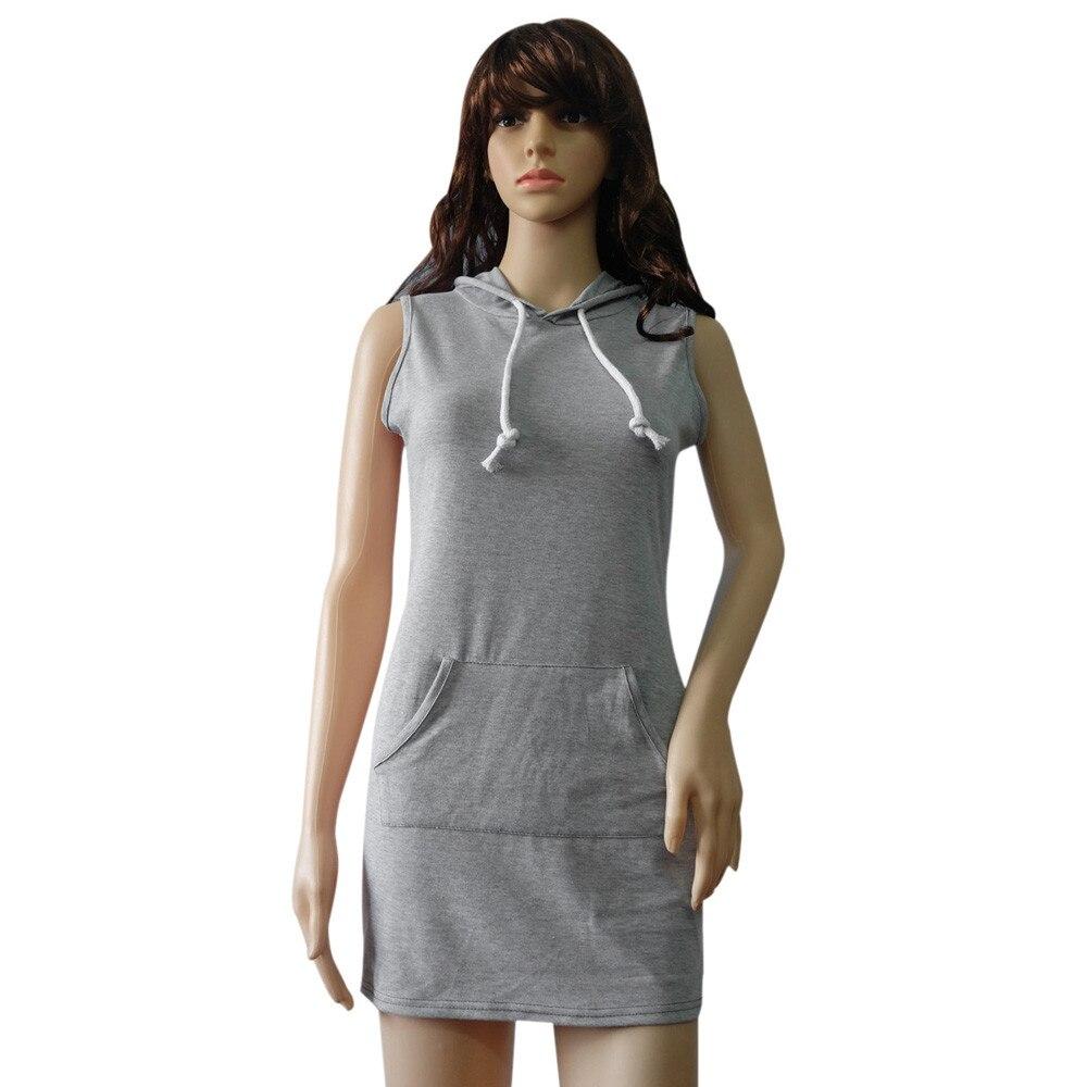 8a5576cd5bd6 2017 New Hot Women Summer Casual Sleeveless Hooded Dress Sexy Slim Front  Pocket Design Short Mini Hoody Dress Vestidos Plus Size