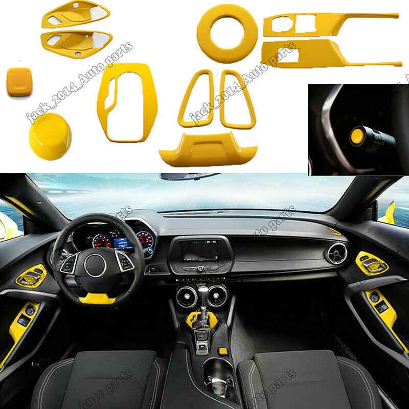 Stainless Yellow Interior Dash Trim Kit 12pcs Set For Chevrolet Camaro 2017 2018 2019 Handbrake Grips Aliexpress