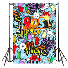 Neoback Vinyl Photographic Background 80 90s Hip-Hop Party Backdrop Graffiti Wall Themed Birthday Boot Photo