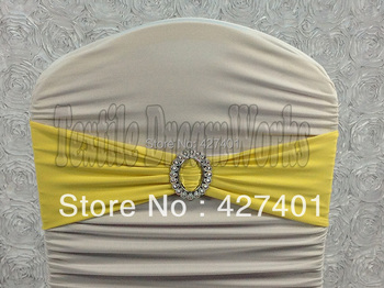 Hot Sale Yellow Spandex Bands / Lycra Band With Oval Buck  For Wedding & Banquet