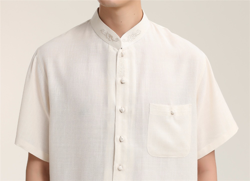 Beige Chinese Style Vintage Male Dress Shirt Men Plus Size XXXL Embroidery Tops Soft Cotton Linen Kung Fu Tai Chi Shirt 2709-1