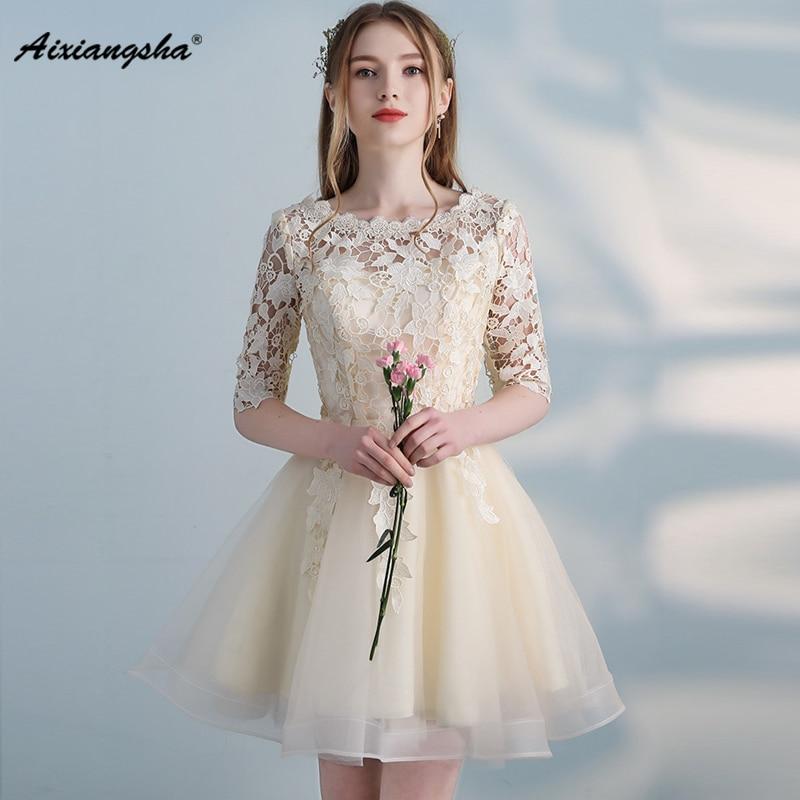 Champagne Elegant Prom Dresses A Line Style Scoop Neck Short Sleeve