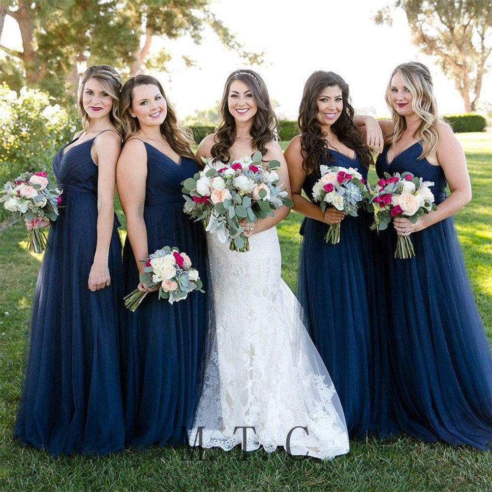 Elegant Navy Blue Pleat Tulle   Bridesmaid     Dresses   A Line Floor Length Spaghetti Strap Long Women Wedding Party Gowns Cheap