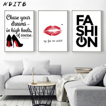 NDITB High Heels Lip Pop Art Fashion Poster Quotes Wall Canvas Print Painting Nordic Decoration Picture for Living Room