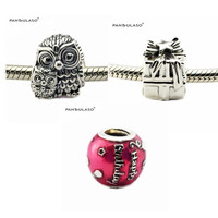 Autumn Charming Owls Gleaming Gift Birthday Celebration Sterling-Silver-Jewelry Fit European Bracelet Woman Beads Wholesale