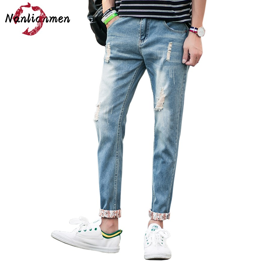 2017 Autumn New Ripped Jeans Men Skinny Ankle-Length White Stretch Distressed Denim Jeans homme slim fit hombre brand male pants men s cowboy jeans fashion blue jeans pant men plus sizes regular slim fit denim jean pants male high quality brand jeans