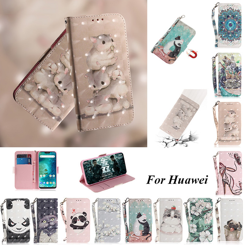 Case For Huawei P20 Pro Mate 10 20 Lite Nova 3 3i 3e Y5 Y6 Y9 2018 3D Wallet Card Leather Flip Cover for hawei <font><b>honor</b></font> <font><b>8x</b></font> 9i 9n 10 image