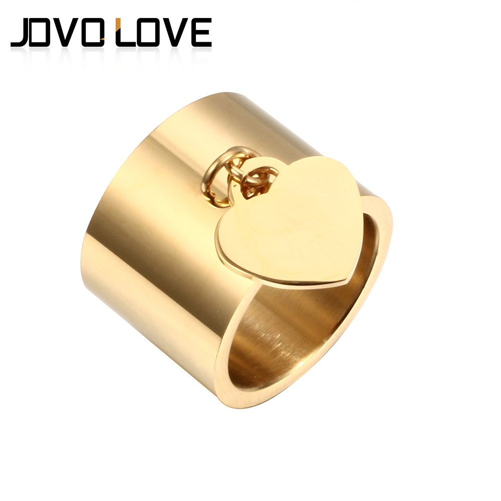 Luxury Rings Women Lover's Heart Tag Charm Gold Rings Jewelry High Quality Stainless Steel Rings for Engagement Femme Rings