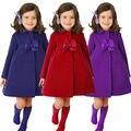 Nova Crianças Meninas Roupas de Inverno de Lã Casacos Longo Trench Vento Brasão Jacket 2 ~ 7A