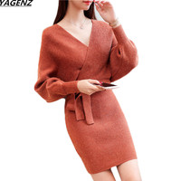 Autumn Winter Sweater Dress 2018 New Fashion Women Dress Sexy V neck Solid Color Bat Sleeved knitting Sweater Belt Dress Female