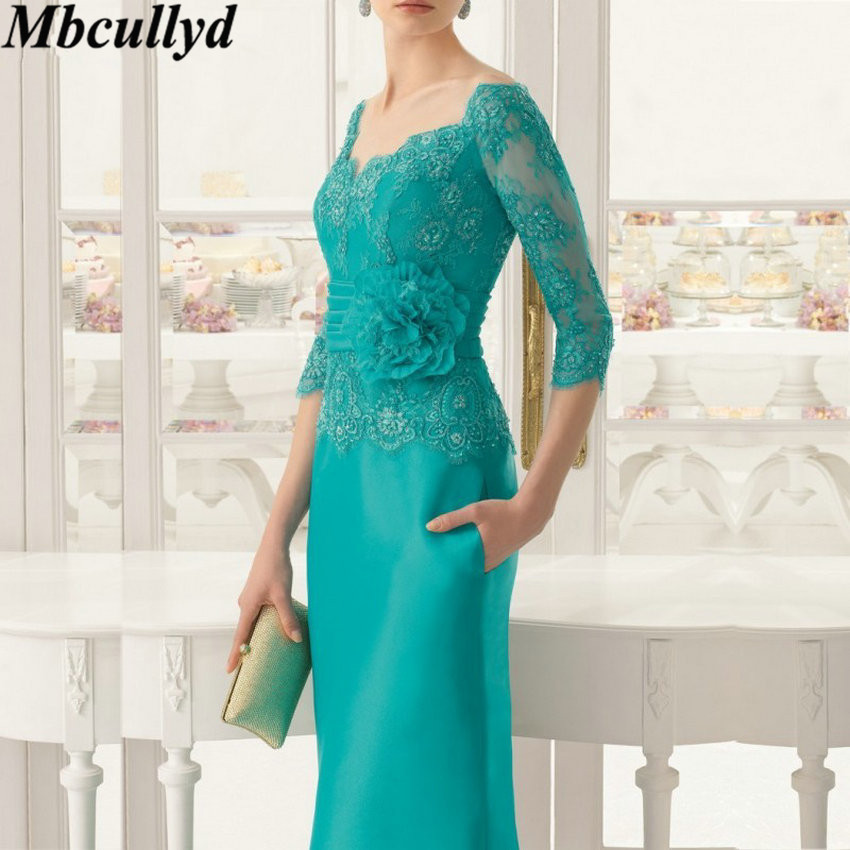 Mbcullyd Emerald Appliques Mother of the Bride Dress Lace Three Quarters Sleeves Floor Length Long Formal Evening Party Gowns(China)