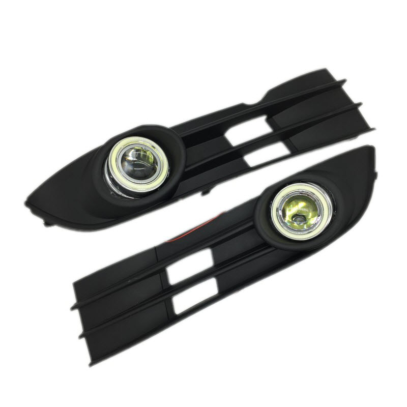 For Volkswagen Touran Caddy 2006-2010 Angel Eyes LED DRL Yellow Signal Light H11 Halogen E13 Fog Lights with Projector Lens for opel astra h gtc 2005 15 h11 wiring harness sockets wire connector switch 2 fog lights drl front bumper 5d lens led lamp