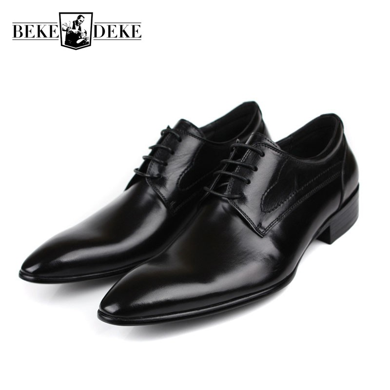 Wedding Men Dress Shoes Genuine Leather 2018 Black Formal Male Shoes Large Size Oxford Business Man Pointed Toe Classic Footwear ccharmix business men shoes genuine leather mens pointed toe dress shoes for men wedding shoes plus size 38 47 formal footwear