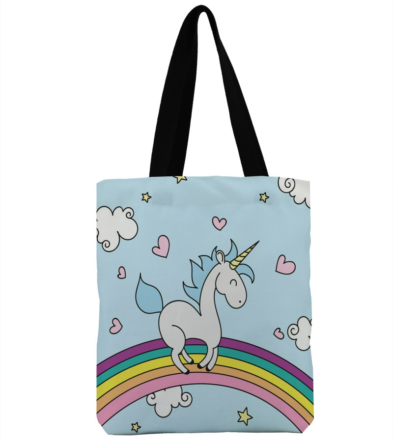 3D Print Rainbow Unicorn Design Beach Single Shoulder Shopping Bag Canvas Tote Handbag Big