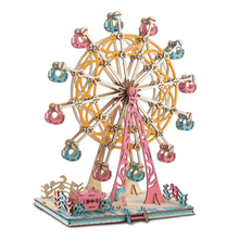 DIY Model toys 3D Wooden Puzzle-Rotating happy Ferris wheel Wooden Kits Puzzle Game Assembling Toys Gift for Kids Adult P38
